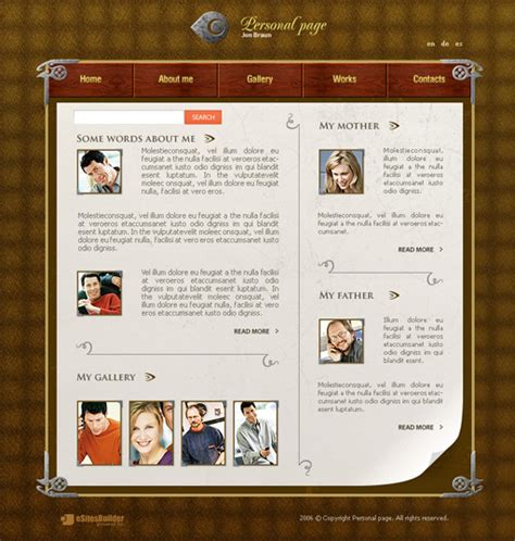 personal web pages templates personal page web template poweredtemplate