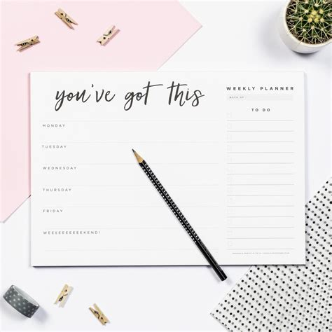 free printable planner pad you ve got this weekly planner pad doodlelove