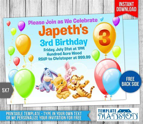 winnie the pooh birthday card template winnie the pooh birthday invitation by templatemansion on