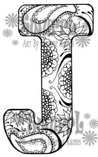 color with j instant coloring page monogram letter j by swurrl