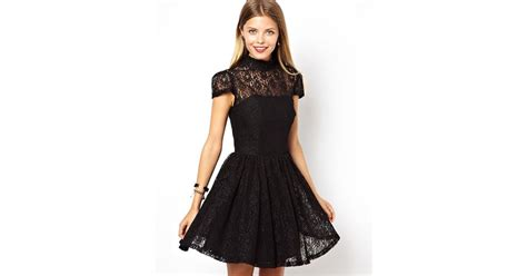 Hi Neck Lace Dress 8994 lyst asos lace high neck prom dress in black