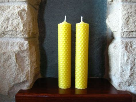 Handmade Beeswax Candles - 2 handmade beeswax rolled candle 15cm x 3cm