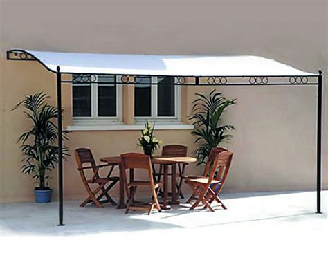 Wall Awning 3 5m X 2 5m Fixed Wall Metal Framed Patio Awning Pergola