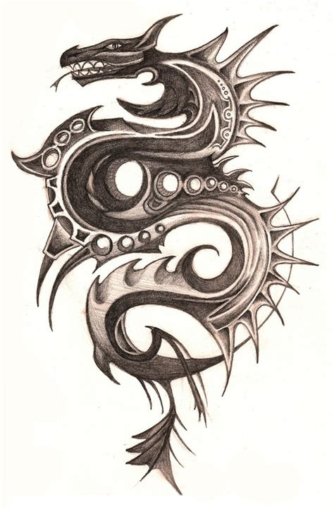 black tribal dragon tattoo designs attractive black ink tribal design