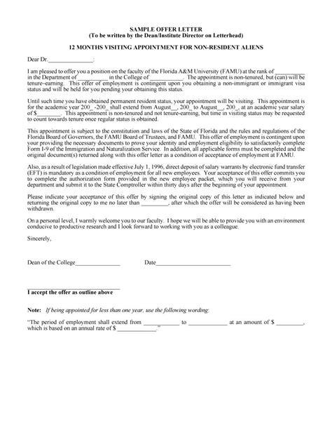 counter offer letter sample sample offer letter experimental sample