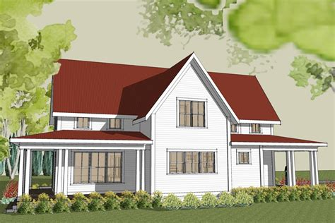 simple farmhouse rear image of simple farmhouse plan with wrap around porch