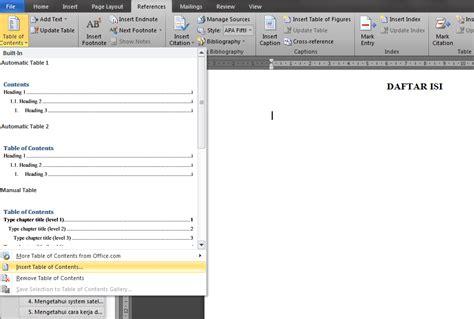 jelaskan langkah langkah membuat daftar isi menggunakan tool references cara membuat daftar isi table of content otomatis