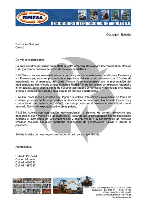 ejemplo de carta de presentacin para una empresa carta de presentaci 243 n de una empresa ejemplos de