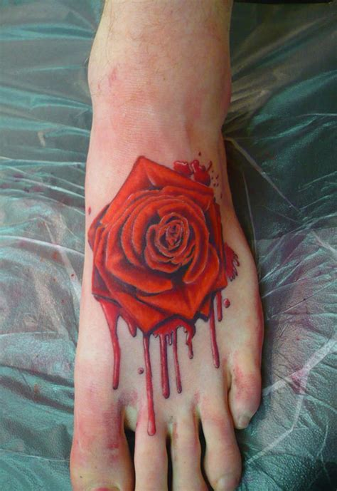 black rose foot tattoo 39 awesome foot tattoos