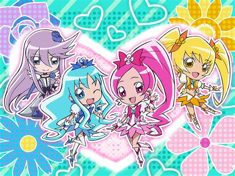 Yosihiko Polkadot 10s 4girls d d blue skirt boots bow chibi cure blossom cure marine cure moonlight cure