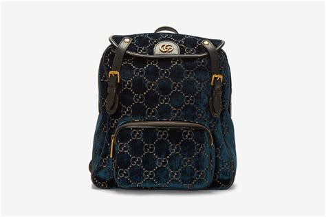 gucci monogram blue velvet backpack release hypebeast