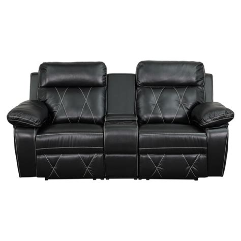 reel comfort series 2 seat leather recliner black