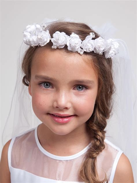 communion hairstyles with headband veil first communion veils and headpieces girls white floral