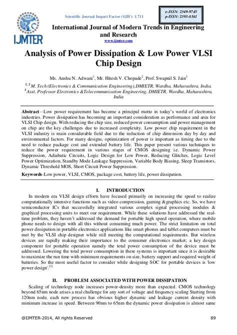vlsi design journal analysis of power dissipation low power vlsi chip design