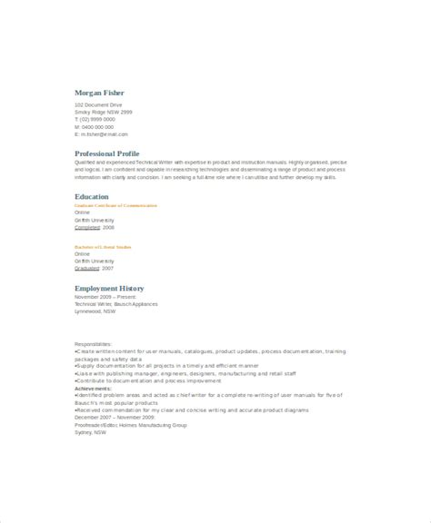 Technical Resume Template by 10 Technical Writer Resume Templates Pdf Doc Free