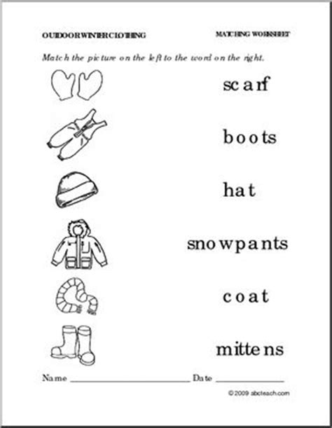 abc test pattern t shirt worksheet winter clothing match pictures to words