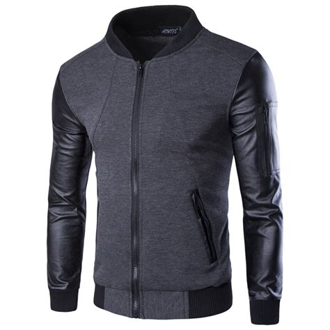 Patchwork Jacket Mens - hoodies patchwork leather sleeve fashion hoodies