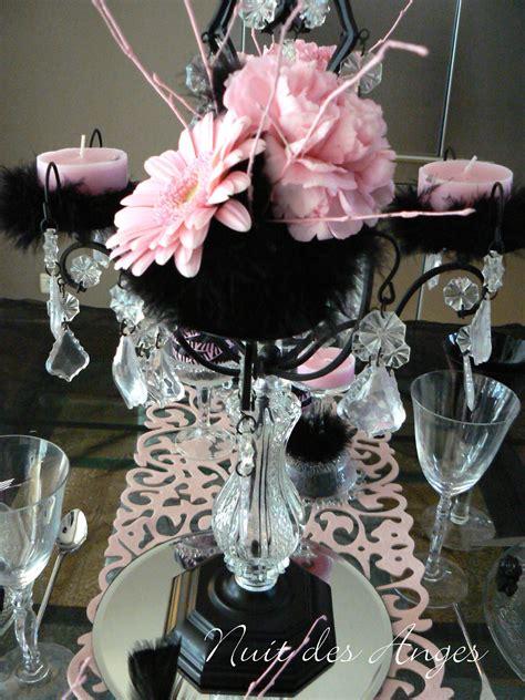 theme rose et noir mariage d 233 coration de table noir et rose boudoir nuit des anges