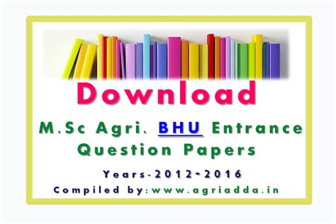 Mba Agribusiness From Bhu by Previous Years M Sc Ag Bhu Entrance Question Papers 2012