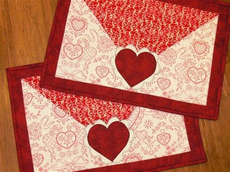 valentines placemats quilted placemat set of 2