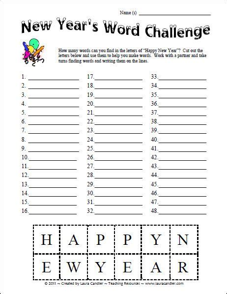 new year worksheets for middle school activities words and spelling on