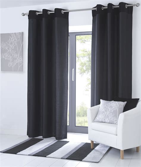 black and cream drapes fully lined eyelet curtains faux leather ready made