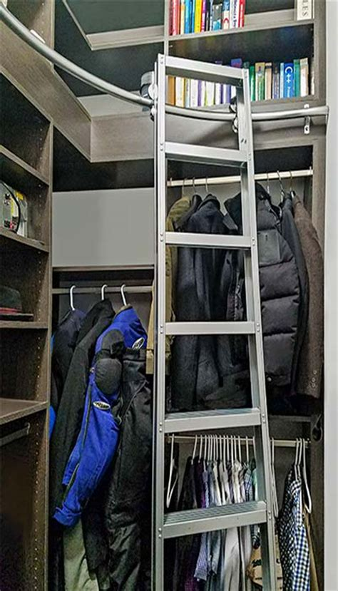 corner closet with closet ladder increases usable storage