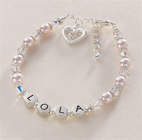 girl s name bracelet with pearls crystals jewels 4 girls