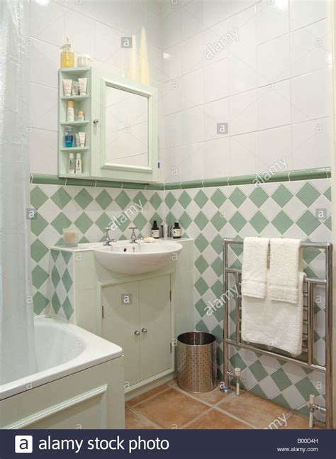 Green And White Bathroom by Green And White Tiles Below Dado In Modern White Bathroom