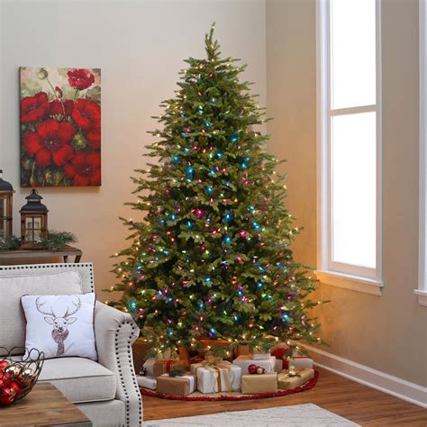how many feet lights for 8 ft christmas tree new pre lit tree 6 7ft steel base multicolor led lights green ebay