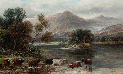 pair  oils  fallen highland scenes loch katrine