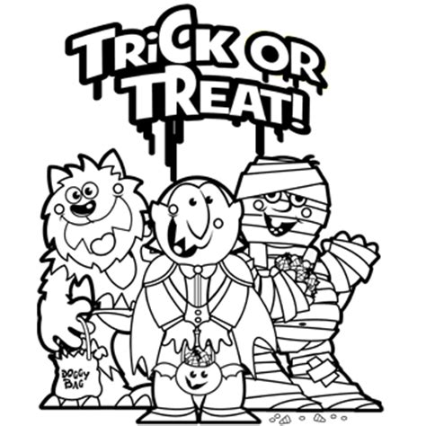 Trick Or Treat Free N Fun Halloween From Oriental Trading Trick Or Treat Coloring Page