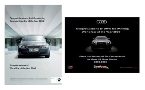mercedes vs bmw ads luxury car brands go head to head in the advertising