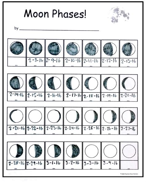 printable monthly calendar with moon phases free moon phase tracking printable preschool powol
