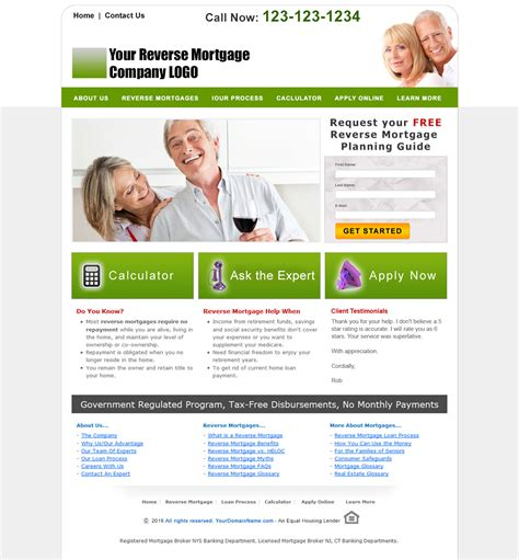 Reverse Mortgage Website Templates Loan Website Templates