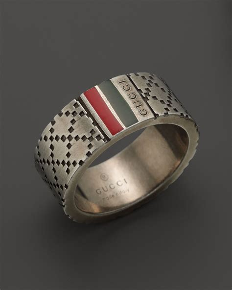 gucci aged sterling silver and enamel diamantissima motif