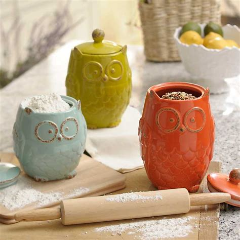 owl canisters for the kitchen owl canister set of 3 kirklands