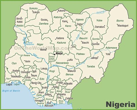 Administrative divisions map of Nigeria