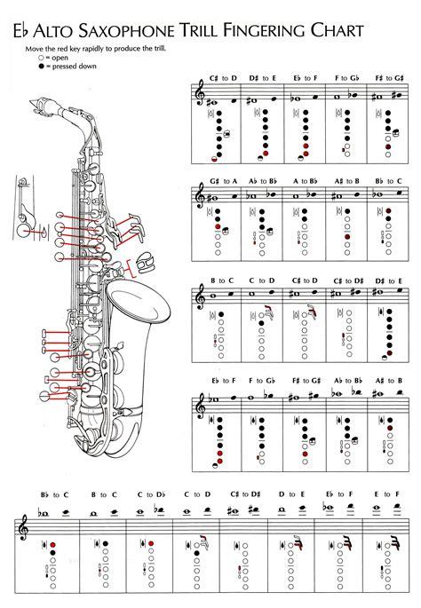 saxophone chart alto saxophone chart instrument charts