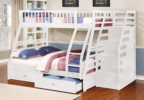 white bunk bed twin over full fraser ii white twin over full bunk bed with storage
