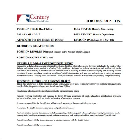 description template pdf branch manager description resume