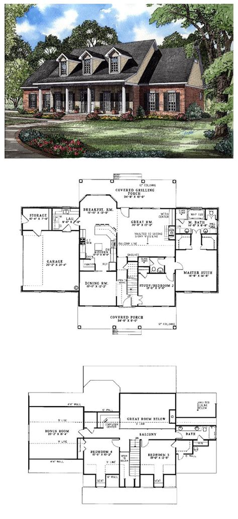 Colonial Country Southern House Plan 62072 Covered 2 Story Southern Home Plans