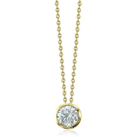 solitaire necklace bezel set 14k yellow gold