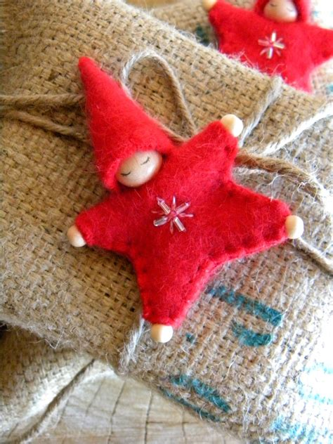 waldorf star baby ornament angora red upcycled wool eco