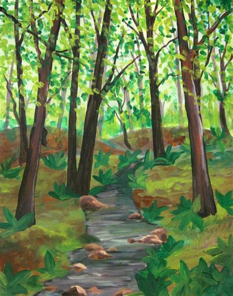 acrylic painting forest tutorial painting forest with acrylics images
