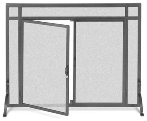 black freestanding fireplace screen w doors 39 in width
