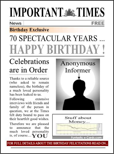 Newspaper Front Page Birthday Card Template by Milestone Birthday Cards For Ages 50 60 70 80 Also