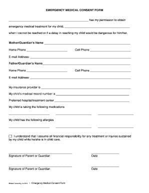 medical consent form fill online printable fillable