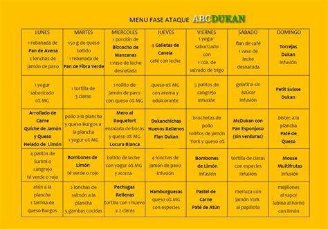 menu fase ataque abcdukan clean food dukan diet diet  diet menu
