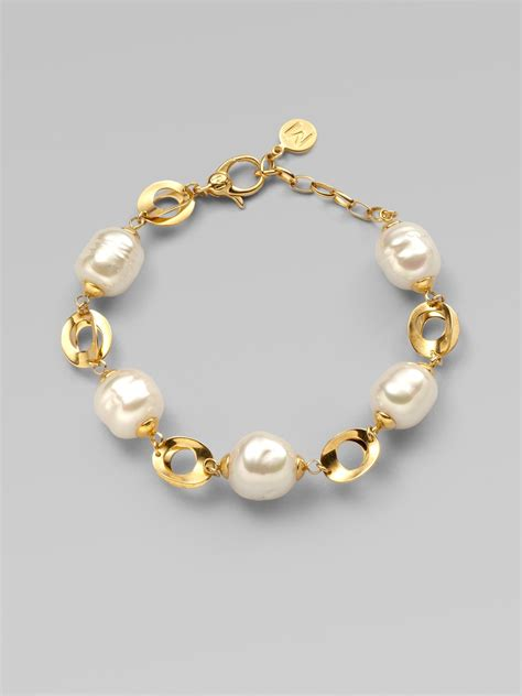 Majorica 12mm White Baroque Pearl Link Bracelet in Gold (pearl)   Lyst